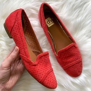 Dolce Vita Red Suede Perforated Slip-On Loafers